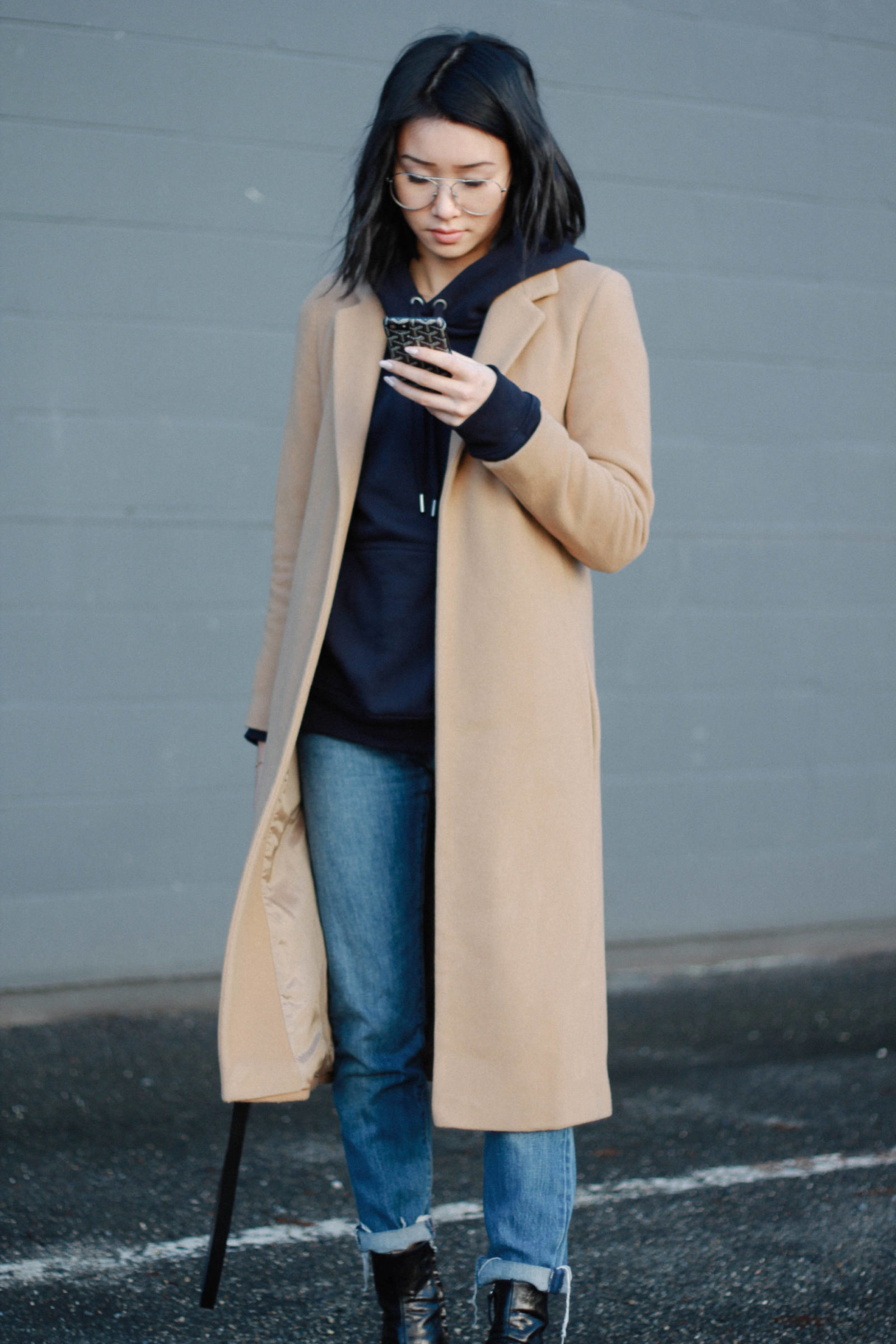 what the fung blog camel coat celine nano luggage h&m hoodie levi wedgie jeans zara booties vancouver
