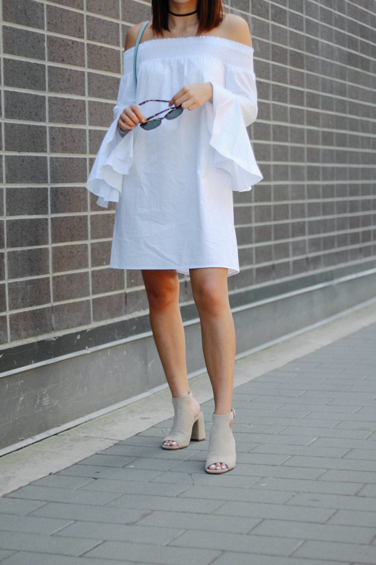 off the shoulder dress what the fung blog prada shoes